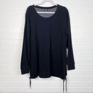 Torrid Crewneck Sweatshirt Black Lace Up Sides 0
